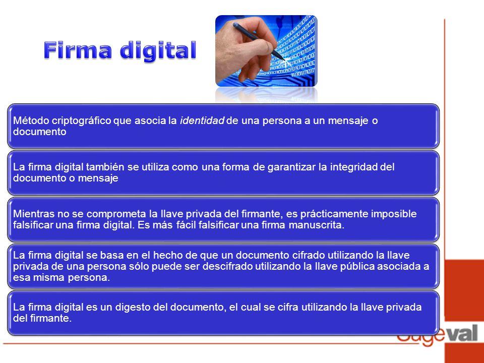 Firma digital Método criptográfico que asocia la identidad de una persona a un mensaje o documento.