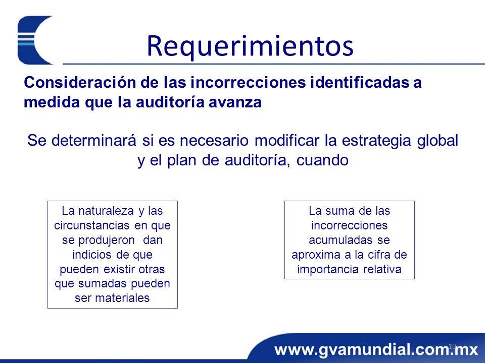 Requerimientos Consideración de las incorrecciones identificadas a medida que la auditoría avanza.