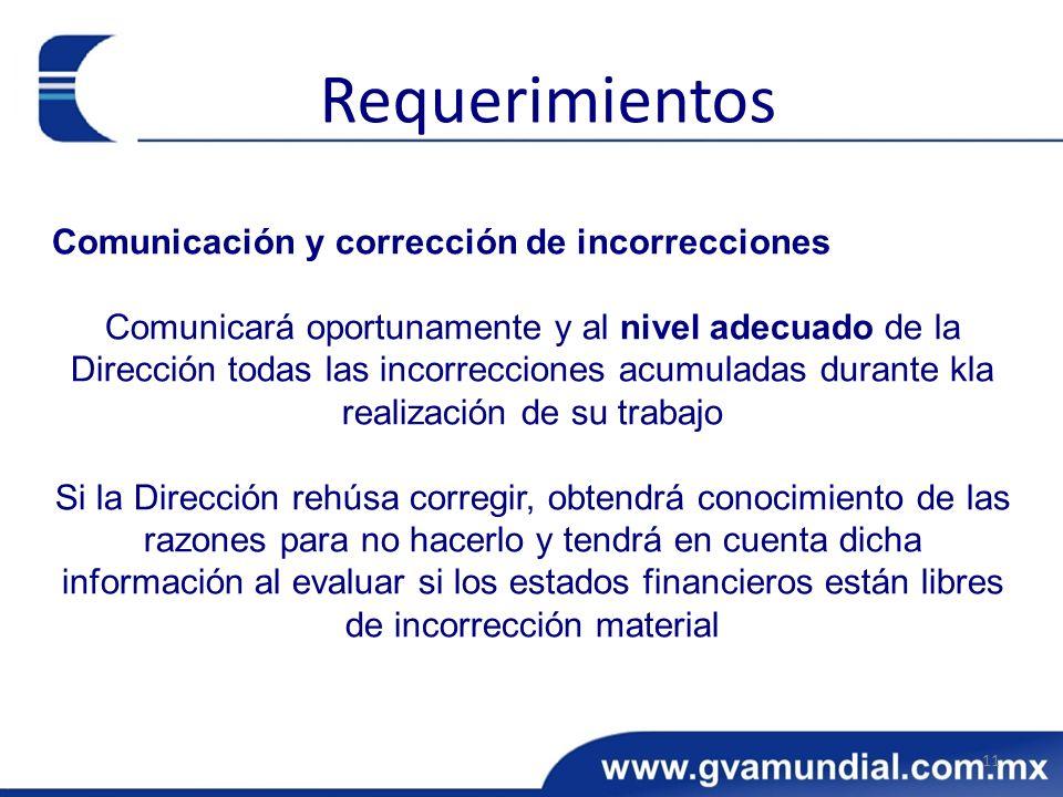 Requerimientos Comunicación y corrección de incorrecciones