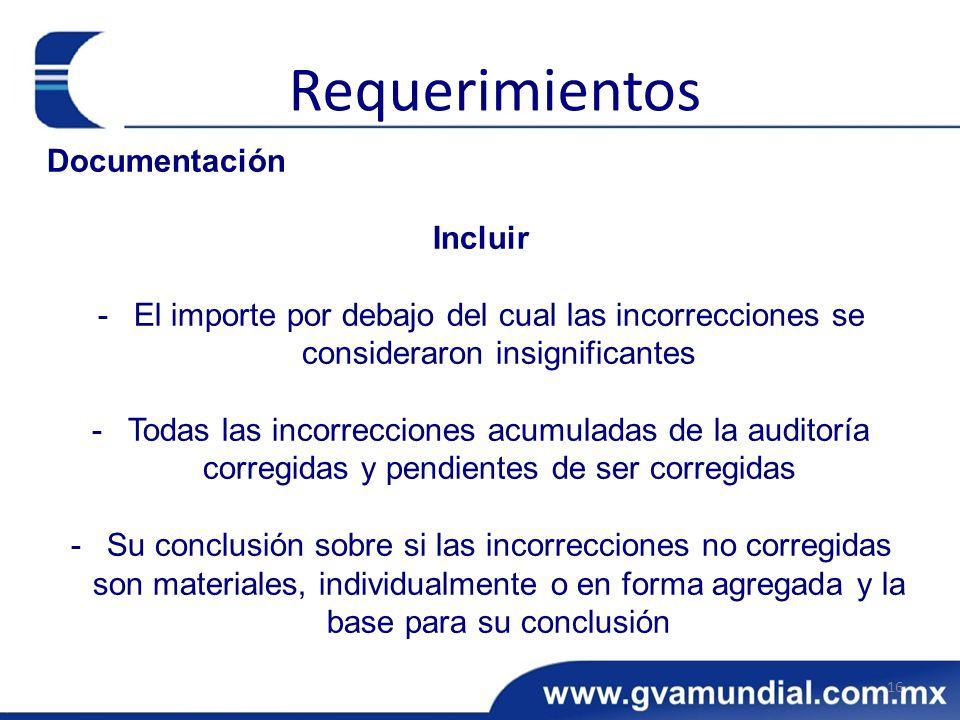 Requerimientos Documentación Incluir