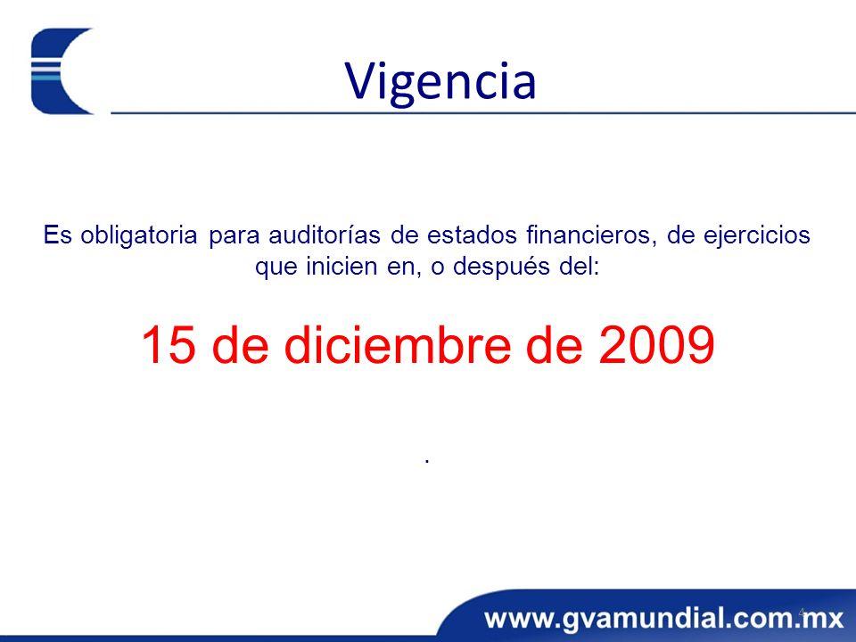 Vigencia 15 de diciembre de 2009