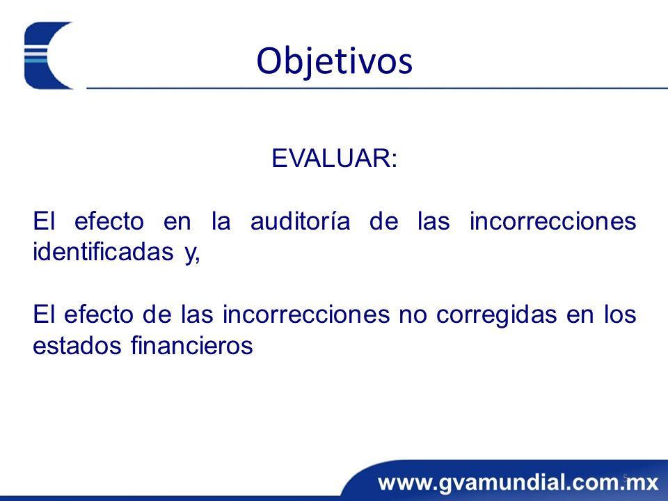 Objetivos EVALUAR: El efecto en la auditoría de las incorrecciones identificadas y,