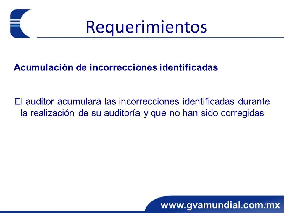 Requerimientos Acumulación de incorrecciones identificadas