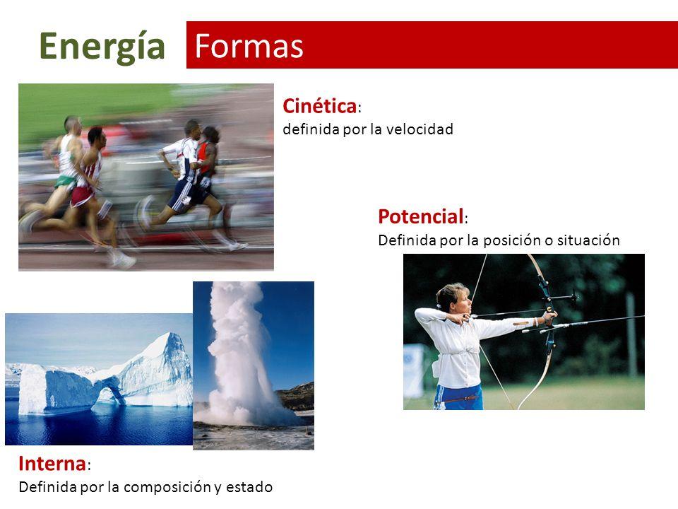 Energía Formas Cinética: Potencial: Interna: definida por la velocidad