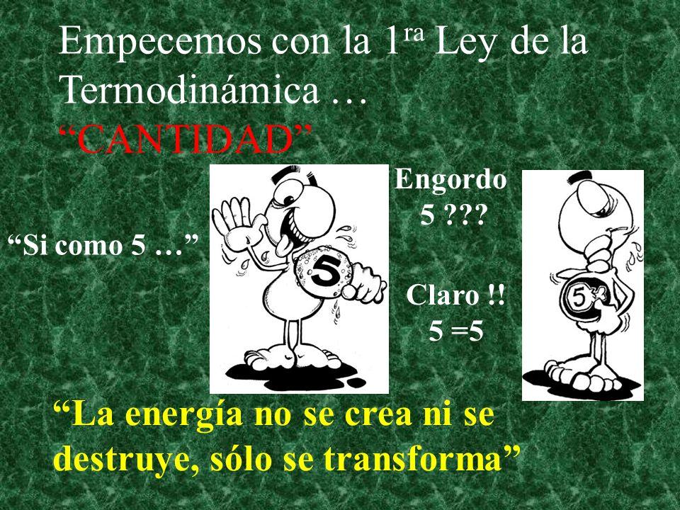 Empecemos con la 1ra Ley de la Termodinámica … CANTIDAD