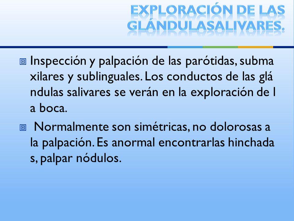 Exploración de las glándulasalivares.