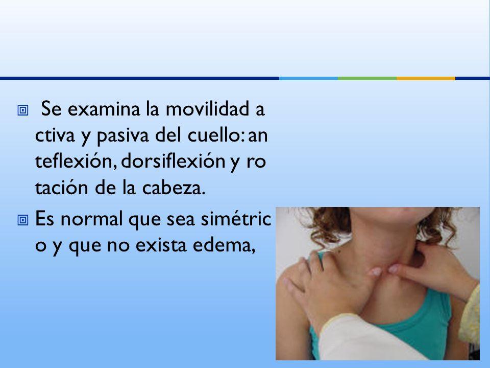 Se examina la movilidad activa y pasiva del cuello: anteflexión, dorsiflexión y rotación de la cabeza.