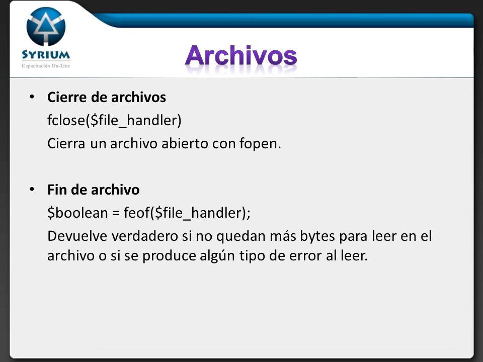 Archivos Cierre de archivos fclose($file_handler)