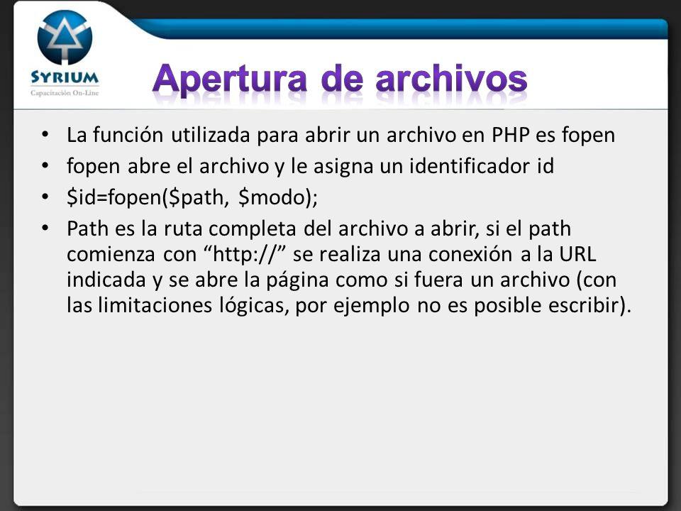 Apertura de archivos La función utilizada para abrir un archivo en PHP es fopen. fopen abre el archivo y le asigna un identificador id.