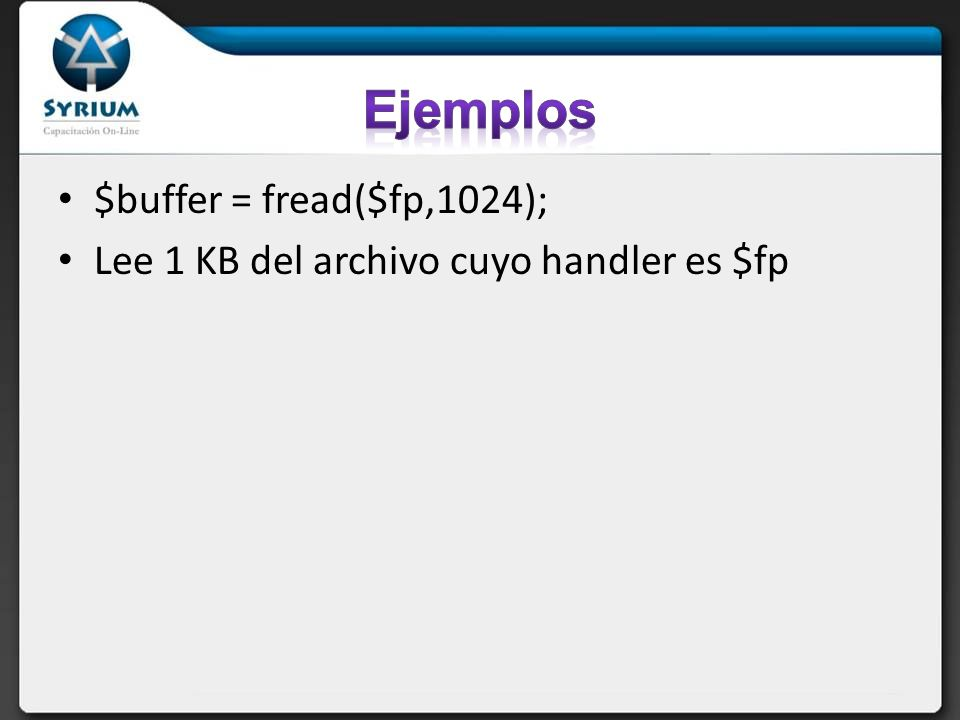 Ejemplos $buffer = fread($fp,1024);