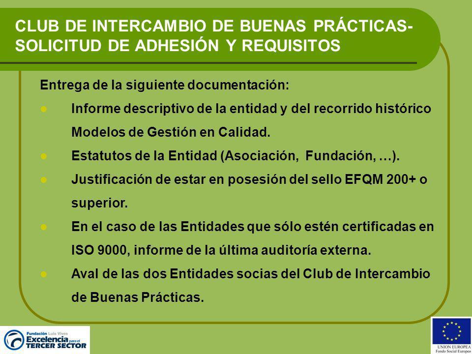 CLUB DE INTERCAMBIO DE BUENAS PRÁCTICAS-SOLICITUD DE ADHESIÓN Y REQUISITOS