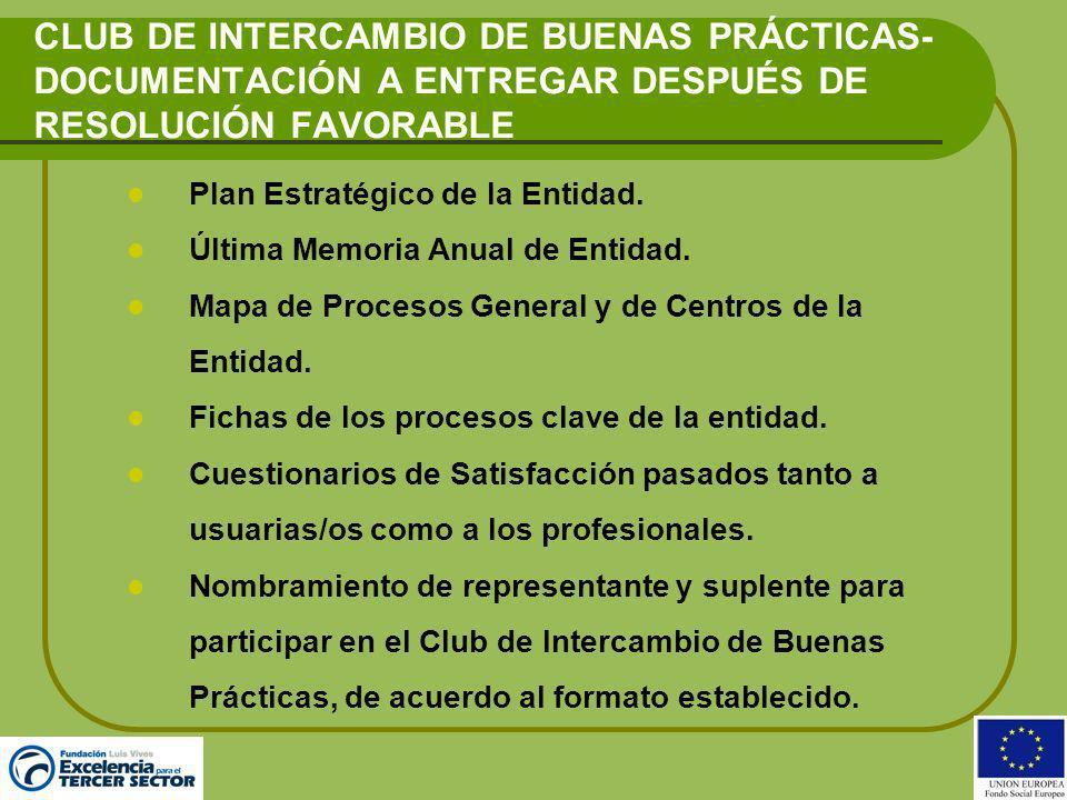 CLUB DE INTERCAMBIO DE BUENAS PRÁCTICAS-DOCUMENTACIÓN A ENTREGAR DESPUÉS DE RESOLUCIÓN FAVORABLE