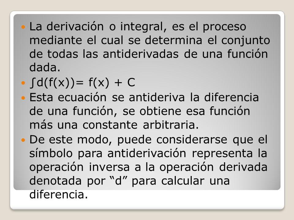 La derivación o integral, es el proceso mediante el cual se determina el conjunto de todas las antiderivadas de una función dada.