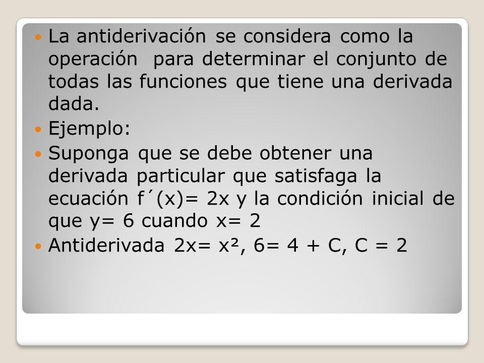 La antiderivación se considera como la operación para determinar el conjunto de todas las funciones que tiene una derivada dada.