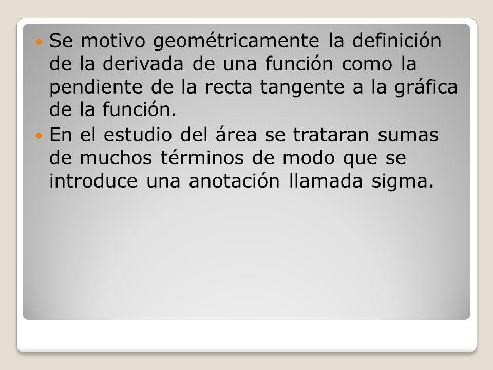 Se motivo geométricamente la definición de la derivada de una función como la pendiente de la recta tangente a la gráfica de la función.
