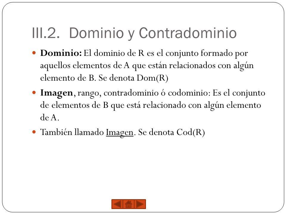 III.2. Dominio y Contradominio