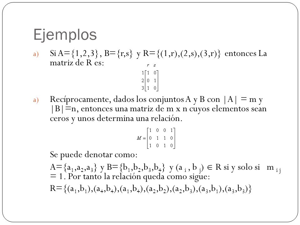 Ejemplos Si A={1,2,3}, B={r,s} y R={(1,r),(2,s),(3,r)} entonces La matriz de R es: