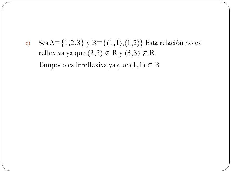 Sea A={1,2,3} y R={(1,1),(1,2)} Esta relación no es reflexiva ya que (2,2)  R y (3,3)  R