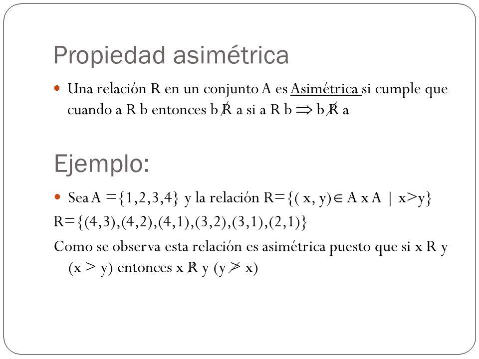 Propiedad asimétrica Ejemplo: