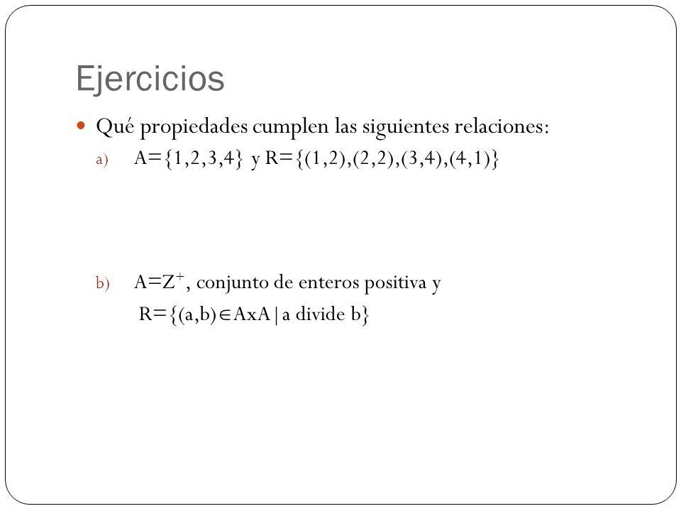 Ejercicios Qué propiedades cumplen las siguientes relaciones:
