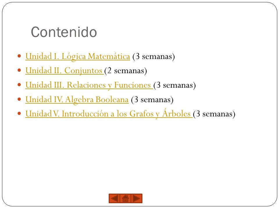 Contenido Unidad I. Lógica Matemática (3 semanas)