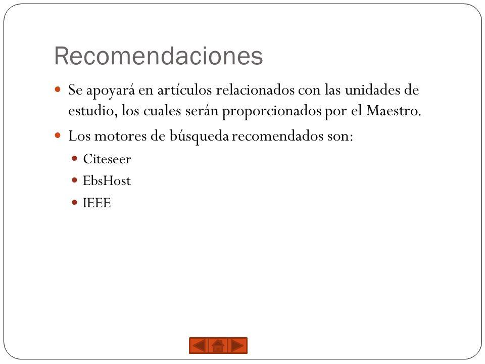 Recomendaciones Se apoyará en artículos relacionados con las unidades de estudio, los cuales serán proporcionados por el Maestro.