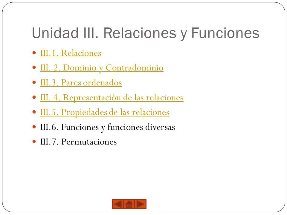 Unidad III. Relaciones y Funciones