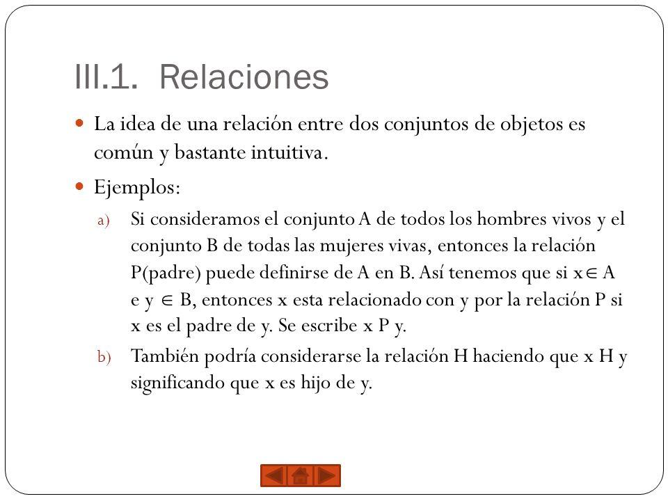 III.1. Relaciones La idea de una relación entre dos conjuntos de objetos es común y bastante intuitiva.