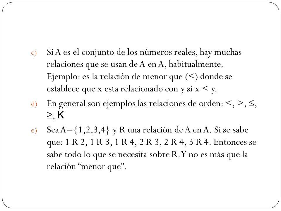 Si A es el conjunto de los números reales, hay muchas relaciones que se usan de A en A, habitualmente. Ejemplo: es la relación de menor que (<) donde se establece que x esta relacionado con y si x < y.