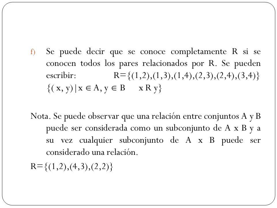 Se puede decir que se conoce completamente R si se conocen todos los pares relacionados por R. Se pueden escribir: R={(1,2),(1,3),(1,4),(2,3),(2,4),(3,4)} {( x, y)|x  A, y  B x R y}