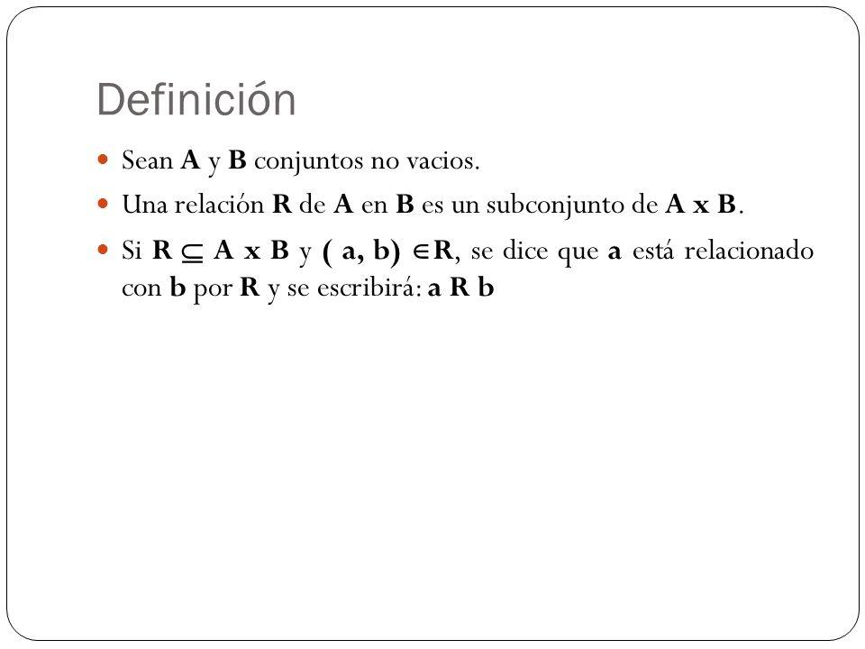 Definición Sean A y B conjuntos no vacios.