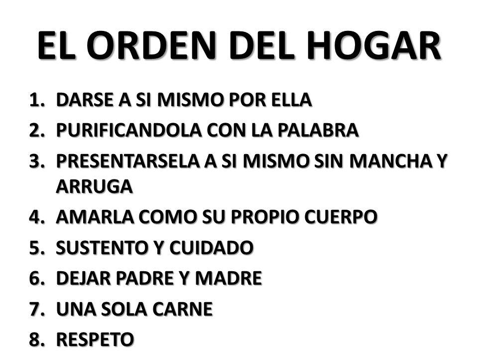 EL ORDEN DEL HOGAR DARSE A SI MISMO POR ELLA