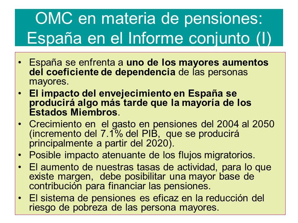 OMC en materia de pensiones: España en el Informe conjunto (I)