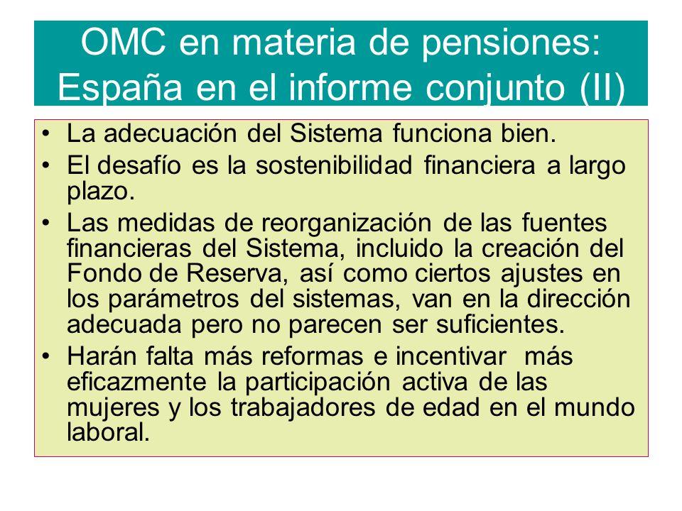 OMC en materia de pensiones: España en el informe conjunto (II)