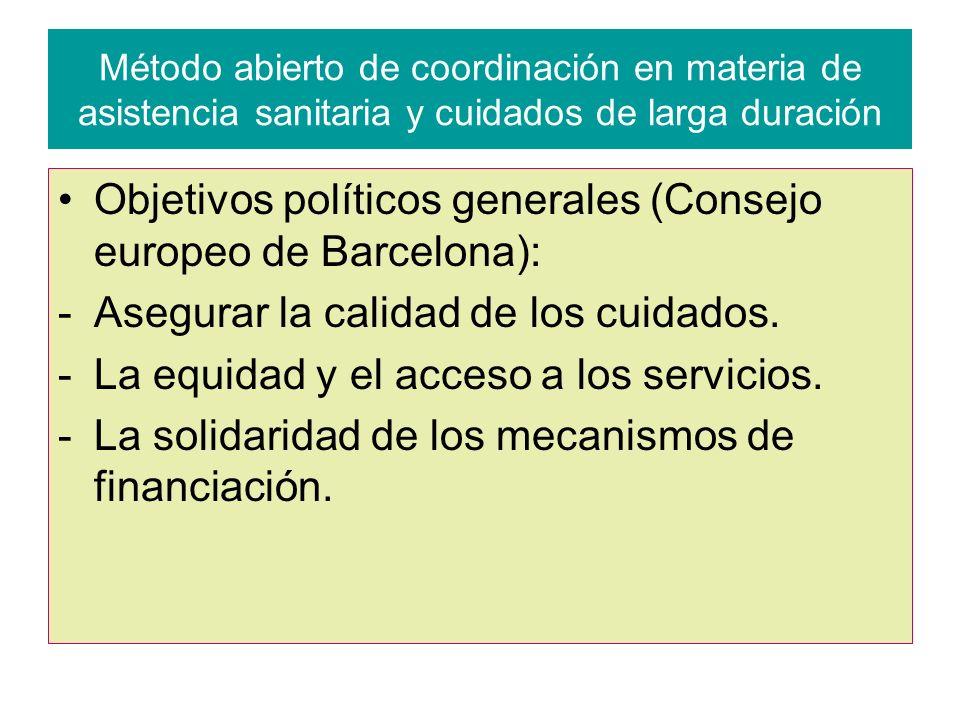 Objetivos políticos generales (Consejo europeo de Barcelona):