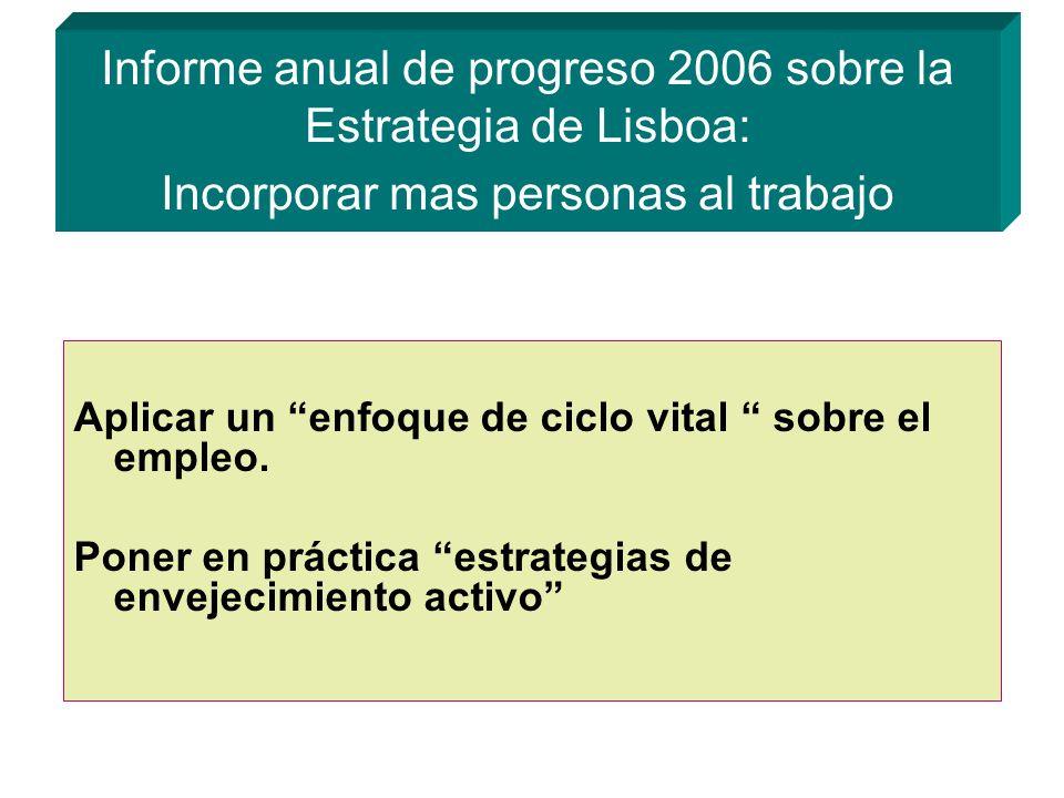 Informe anual de progreso 2006 sobre la Estrategia de Lisboa: Incorporar mas personas al trabajo