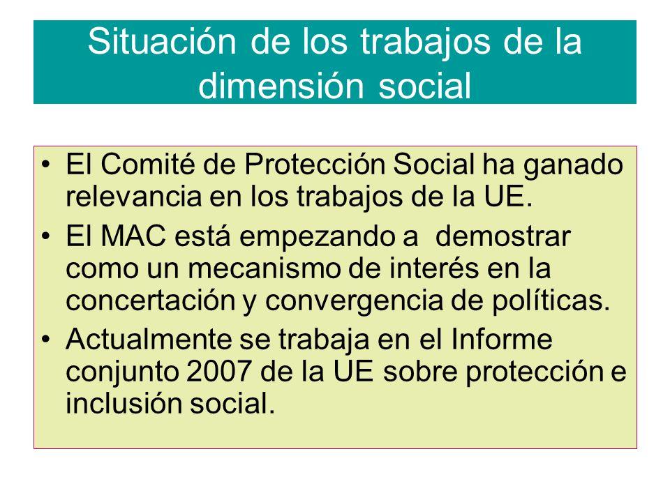 Situación de los trabajos de la dimensión social