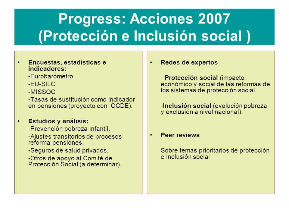 Progress: Acciones 2007 (Protección e Inclusión social )