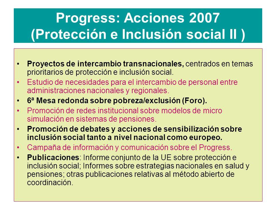 Progress: Acciones 2007 (Protección e Inclusión social II )