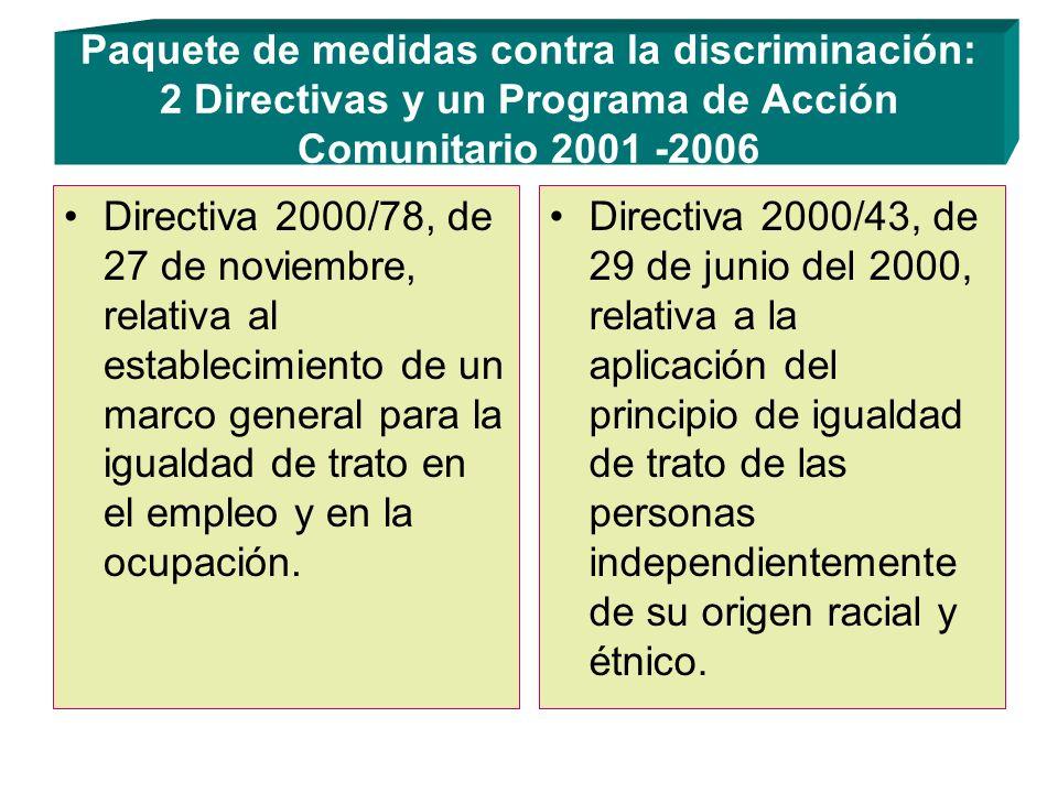 Paquete de medidas contra la discriminación: 2 Directivas y un Programa de Acción Comunitario 2001 -2006