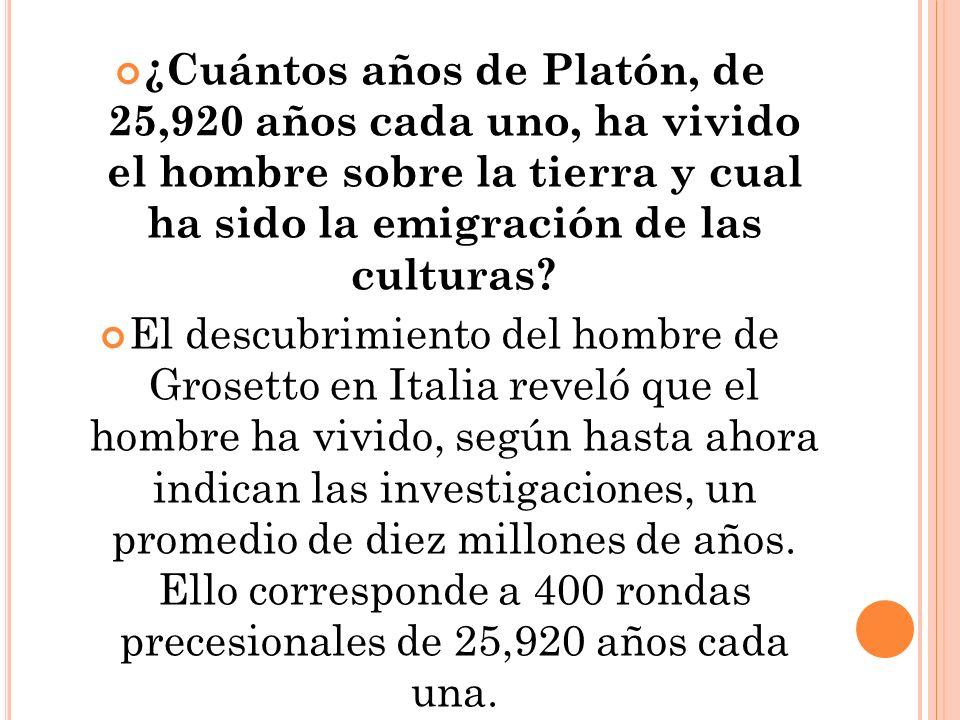 ¿Cuántos años de Platón, de 25,920 años cada uno, ha vivido el hombre sobre la tierra y cual ha sido la emigración de las culturas