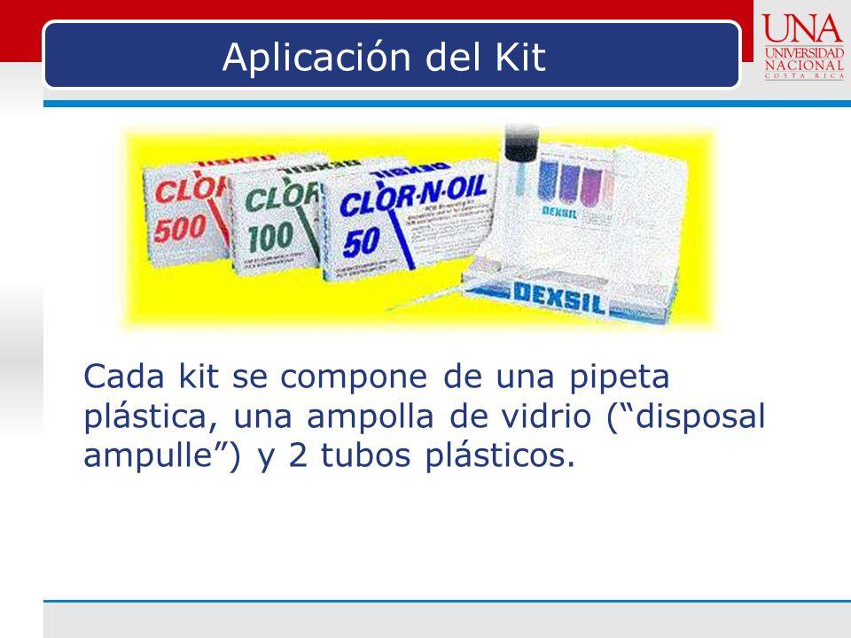 Aplicación del Kit Cada kit se compone de una pipeta plástica, una ampolla de vidrio ( disposal ampulle ) y 2 tubos plásticos.