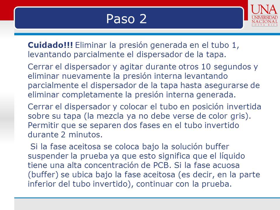 Paso 2 Cuidado!!! Eliminar la presión generada en el tubo 1, levantando parcialmente el dispersador de la tapa.