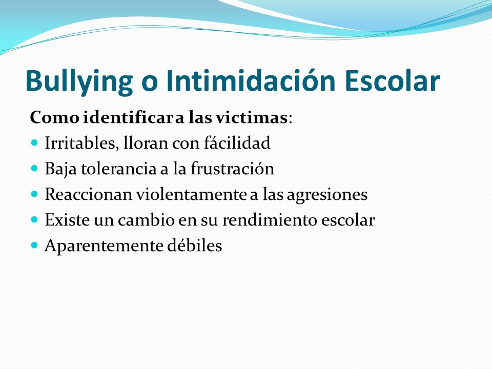 Bullying o Intimidación Escolar