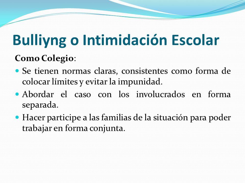 Bulliyng o Intimidación Escolar