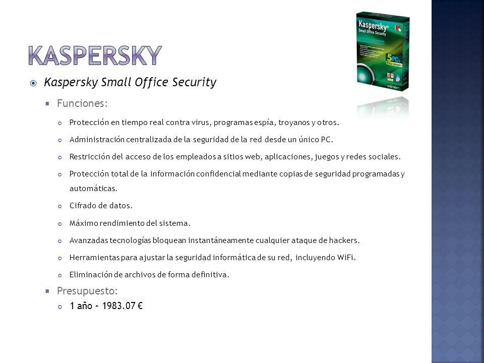 Kaspersky Kaspersky Small Office Security Funciones: Presupuesto: