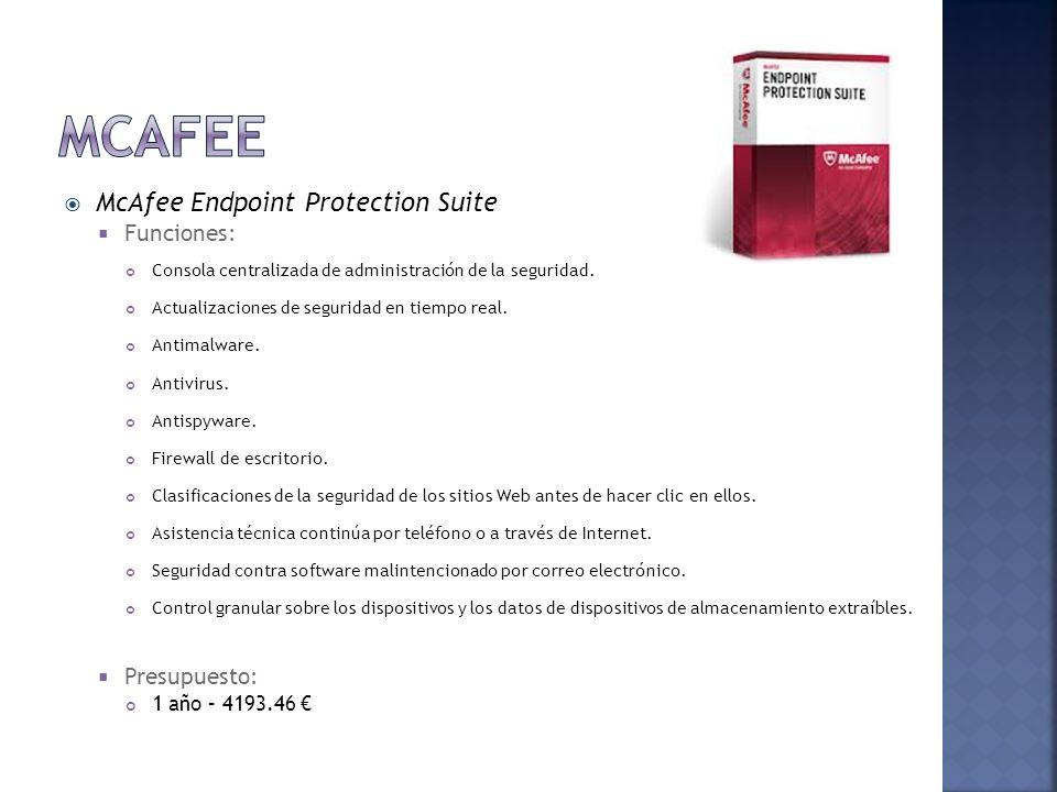 McAfee McAfee Endpoint Protection Suite Funciones: Presupuesto: