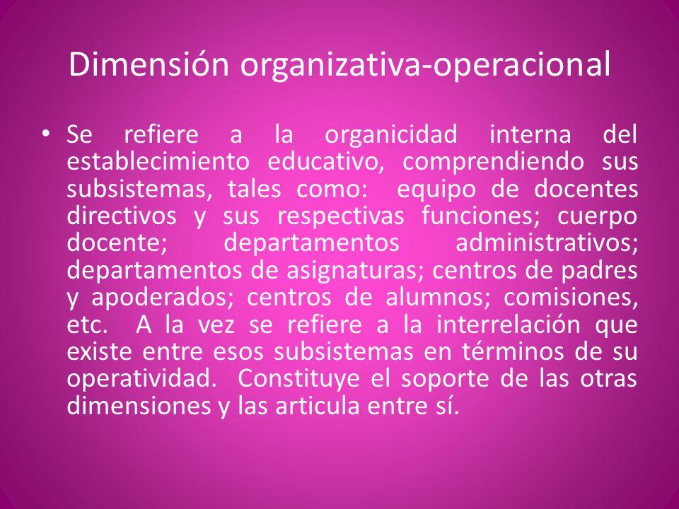Dimensión organizativa-operacional