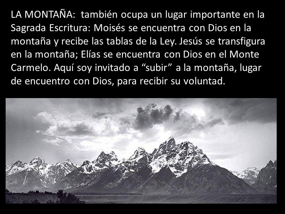 LA MONTAÑA: también ocupa un lugar importante en la Sagrada Escritura: Moisés se encuentra con Dios en la montaña y recibe las tablas de la Ley.