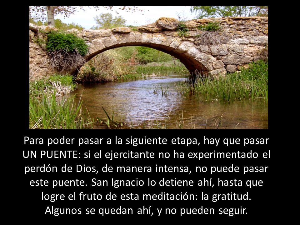 Para poder pasar a la siguiente etapa, hay que pasar UN PUENTE: si el ejercitante no ha experimentado el perdón de Dios, de manera intensa, no puede pasar este puente.